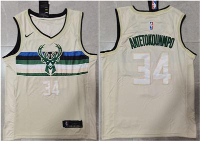 Men's Milwaukee Bucks #34 Giannis Antetokounmpo Cream Stitched Basketball Jerseys