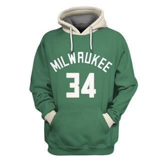 Men's Milwaukee Bucks #34 Giannis Antetokounmpo Green All Stitched Hooded Sweatshirt