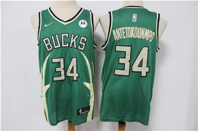 Men's Milwaukee Bucks #34 Giannis Antetokounmpo Green Stitched Basketball Jersey