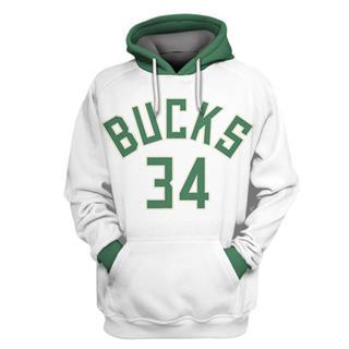 Men's Milwaukee Bucks #34 Giannis Antetokounmpo White All Stitched Hooded Sweatshirt