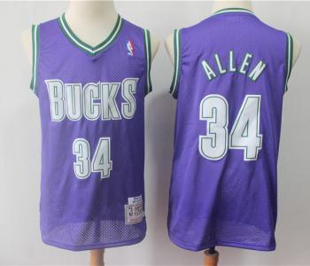 Men's Milwaukee Bucks #34 Ray Allen Purple Hardwood Classics Basketball Throwback Jersey