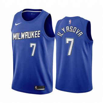 Men's Milwaukee Bucks #7 Ersan Ilyasova Navy City Edition New Uniform 2020-21 Stitched Basketball Jersey