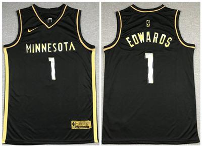 Men's Minnesota Timberwolves #1 Anthony Edwards Black Gold 2021 Swingman Stitched Basketball Jersey