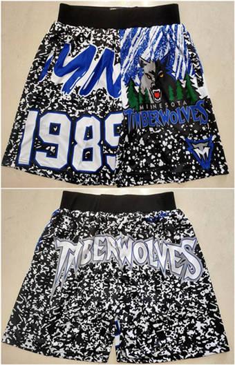 Men's Minnesota Timberwolves Black Mitchell & Ness Basketball Shorts (Run Small)