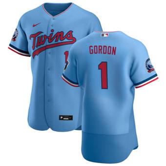 Men's Minnesota Twins #1 Nick Gordon Light Blue Alternate 2020 60th Season Authentic Team Baseball Jersey