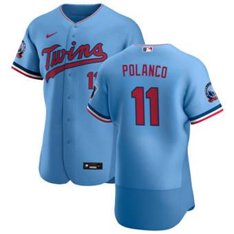 Men's Minnesota Twins #11 Jorge Polanco Light Blue Alternate 2020 60th Season Authentic Team Baseball Jersey