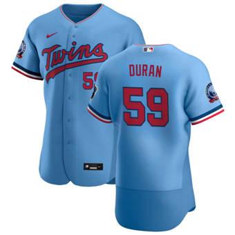 Men's Minnesota Twins #59 Jhoan Duran Light Blue Alternate 2020 60th Season Authentic Team Baseball Jersey