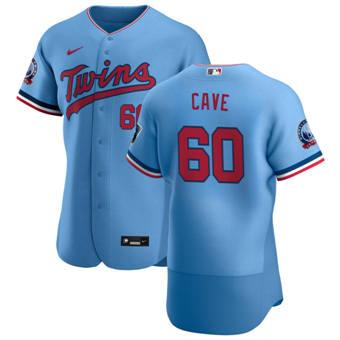 Men's Minnesota Twins #60 Jake Cave Light Blue Alternate 2020 60th Season Authentic Team Baseball Jersey