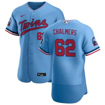 Men's Minnesota Twins #62 Dakota Chalmers Light Blue Alternate 2020 60th Season Authentic Team Baseball Jersey