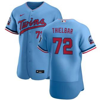 Men's Minnesota Twins #72 Caleb Thielbar Light Blue Alternate 2020 60th Season Authentic Team Baseball Jersey