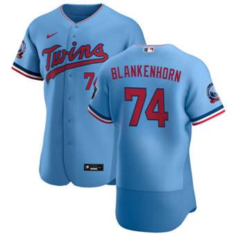 Men's Minnesota Twins #74 Travis Blankenhorn Light Blue Alternate 2020 60th Season Authentic Team Baseball Jersey