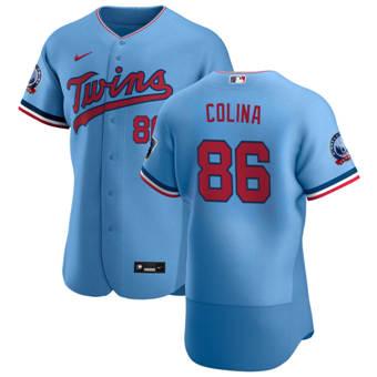 Men's Minnesota Twins #86 Edwar Colina Light Blue Alternate 2020 60th Season Authentic Team Baseball Jersey