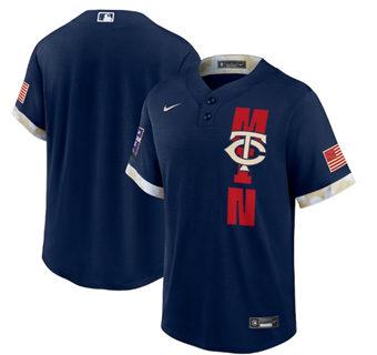 Men's Minnesota Twins Blank 2021 Navy All-Star Cool Base Stitched Baseball Jersey