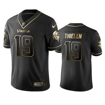 Men's Minnesota Vikings #19 Adam Thielen Black Golden Editon Limited Stitched Football Jersey