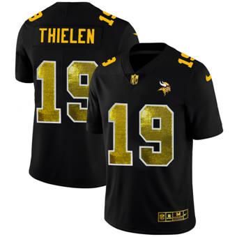 Men's Minnesota Vikings #19 Adam Thielen Black Golden Sequin Vapor Limited Football Jersey