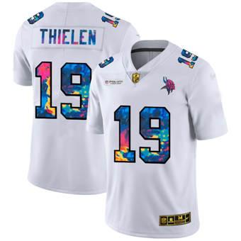 Men's Minnesota Vikings #19 Adam Thielen White Multi-Color 2020 Football Crucial Catch Limited Football Jersey