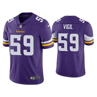 Men's Minnesota Vikings #59 Nick Vigil Purple Vapor Untouchable Limited Stitched Jersey