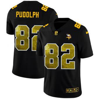 Men's Minnesota Vikings #82 Kyle Rudolph Black Golden Sequin Vapor Limited Football Jersey