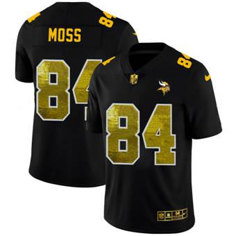 Men's Minnesota Vikings #84 Randy Moss Black Golden Sequin Vapor Limited Football Jersey