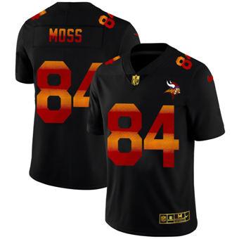 Men's Minnesota Vikings #84 Randy Moss Black Red Orange Stripe Vapor Limited Football Jersey