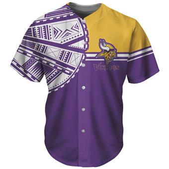 Men's Minnesota Vikings Purple Baseball Jersey
