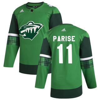 Men's Minnesota Wild #11 Zach Parise 2020 St. Patrick's Day Stitched Hockey Jersey Green