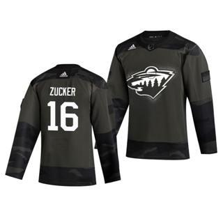 Men's Minnesota Wild #16 Jason Zucker 2019 Veterans Day Authentic Practice Hockey Jersey Camo