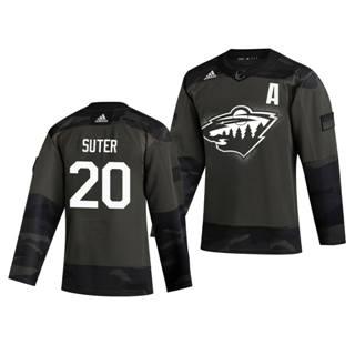 Men's Minnesota Wild #20 Ryan Suter 2019 Veterans Day Authentic Practice Hockey Jersey Camo