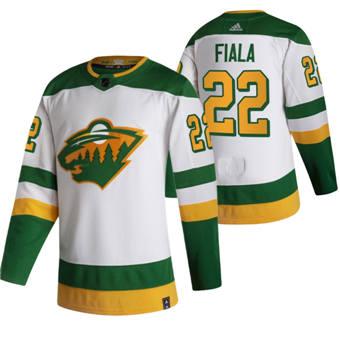 Men's Minnesota Wild #22 Kevin Fiala White 2020-21 Reverse Retro Alternate Hockey Jersey