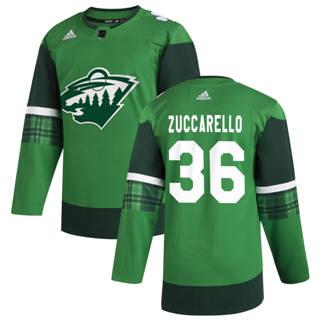 Men's Minnesota Wild #36 Mats Zuccarello 2020 St. Patrick's Day Stitched Hockey Jersey Green