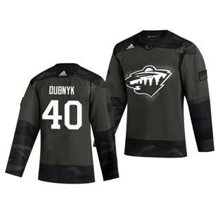 Men's Minnesota Wild #40 Devan Dubnyk 2019 Veterans Day Authentic Practice Hockey Jersey Camo