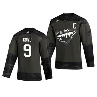 Men's Minnesota Wild #9 Mikko Koivu 2019 Veterans Day Authentic Practice Hockey Jersey Camo