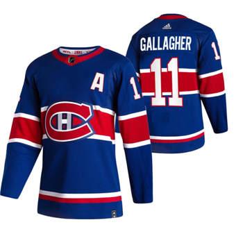 Men's Montreal Canadiens #11 Brendan Gallagher Blue 2020-21 Reverse Retro Alternate Hockey Jersey