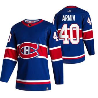 Men's Montreal Canadiens #40 Joel Armia Blue 2020-21 Reverse Retro Alternate Hockey Jersey