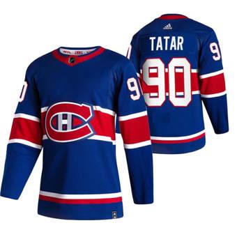 Men's Montreal Canadiens #90 Tomas Tatar Blue 2020-21 Reverse Retro Alternate Hockey Jersey