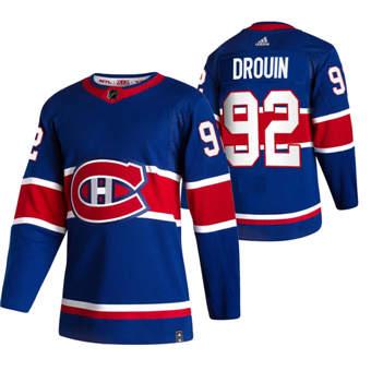Men's Montreal Canadiens #92 Jonathan Drouin Blue 2020-21 Reverse Retro Alternate Hockey Jersey