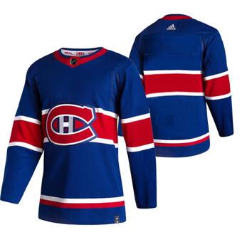 Men's Montreal Canadiens Blank Blue 2020-21 Reverse Retro Alternate Hockey Jersey