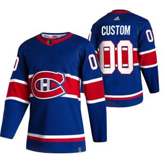 Men's Montreal Canadiens Custom Blue 2020-21 Reverse Retro Alternate Hockey Jersey