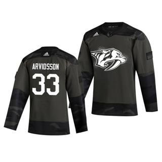 Men's Nashville Predators #33 Viktor Arvidsson 2019 Veterans Day Authentic Practice Hockey Jersey Camo