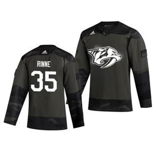 Men's Nashville Predators #35 Pekka Rinne 2019 Veterans Day Authentic Practice Hockey Jersey Camo