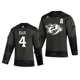 Men's Nashville Predators #4 Ryan Ellis 2019 Veterans Day Authentic Practice Hockey Jersey Camo