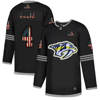 Men's Nashville Predators #4 Ryan Ellis Black USA Flag Limited Hockey Jersey