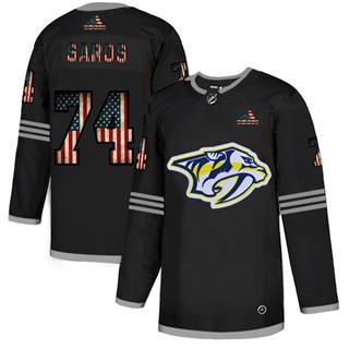 Men's Nashville Predators #74 Juuse Saros Black USA Flag Limited Hockey Jersey