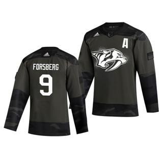 Men's Nashville Predators #9 Filip Forsberg 2019 Veterans Day Authentic Practice Hockey Jersey Camo