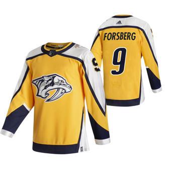 Men's Nashville Predators #9 Filip Forsberg Yellow 2020-21 Reverse Retro Alternate Hockey Jersey