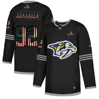 Men's Nashville Predators #92 Ryan Johansen Black USA Flag Limited Hockey Jersey