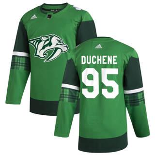 Men's Nashville Predators #95 Matt Duchene 2020 St. Patrick's Day Stitched Hockey Jersey Green