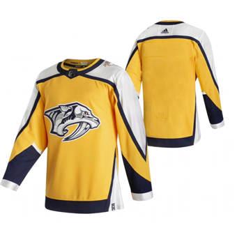 Men's Nashville Predators Blank Yellow 2020-21 Reverse Retro Alternate Hockey Jersey