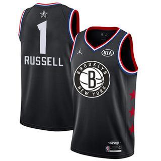 Men's Nets #1 D'Angelo Russell Black Basketball Jordan Swingman 2019 All-Star Game Jersey