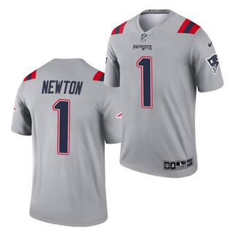 Men's New England Patriots #1 Cam Newton Gray 2021 Inverted Legend Stitched Jersey